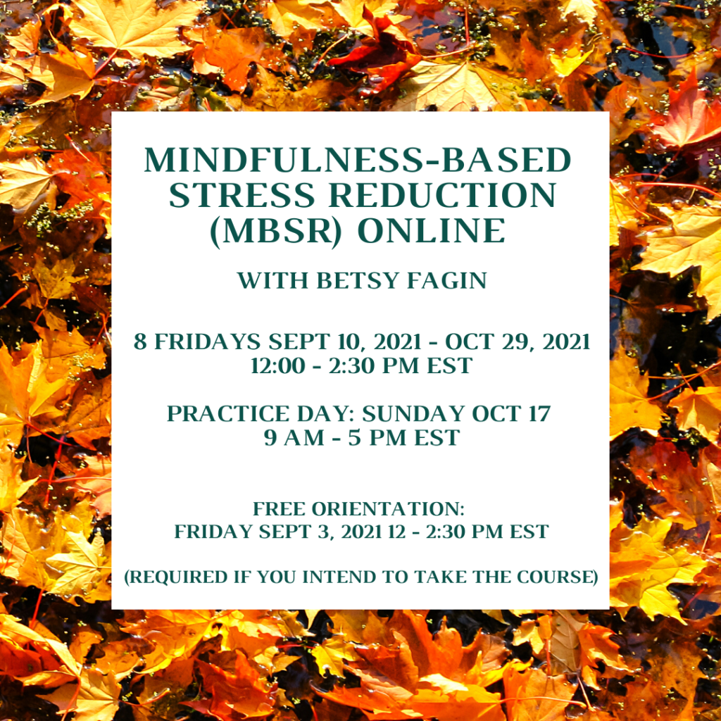 MBSR online with Betsy Fagin Sept 10- Oct 29, 2021.